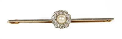 Lot 125 - A pearl diamond daisy cluster bar brooch, c.1920