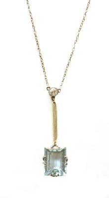 Lot 142 - An Art Deco aquamarine and diamond Edna May pendant