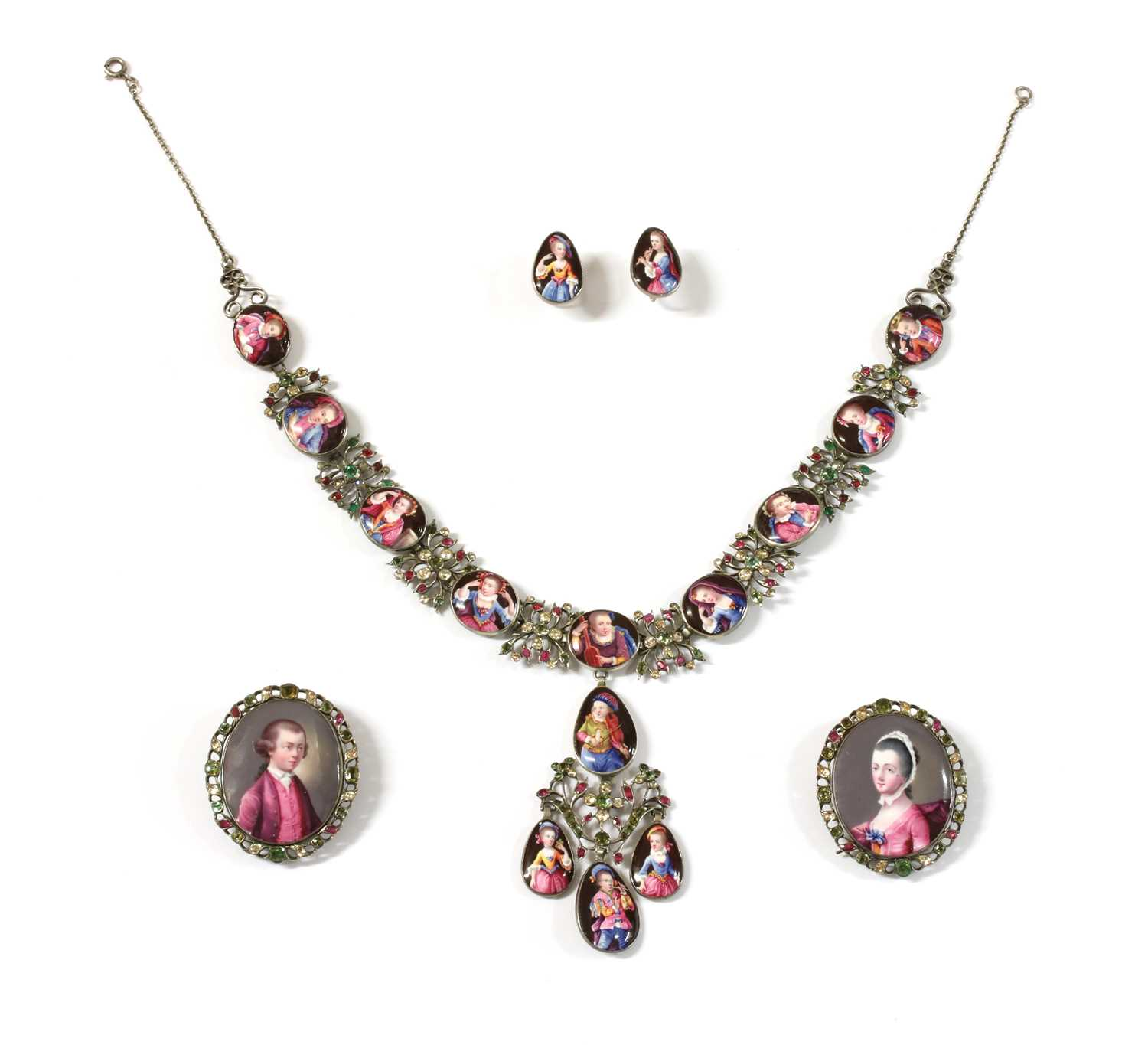 Lot 1 - An 18th century enamelled portrait miniature necklace, earrings and pair of clasps, cased suite