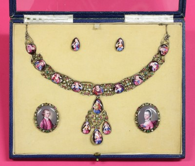 Lot 11 - An 18th century enamel portrait miniature necklace, earrings and pair of clasps, cased suite