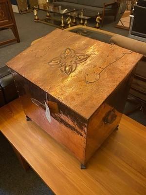 Lot 15 - An Arts and Crafts copper log bin