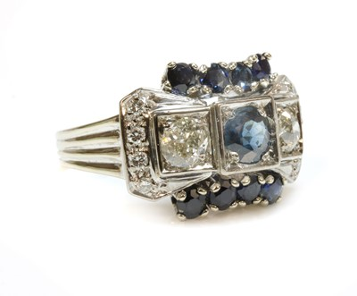 Lot 188 - A Continental sapphire and diamond bow ring, c.1940