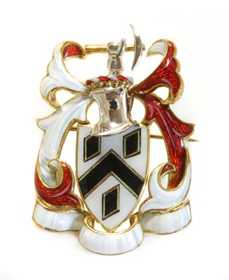 Lot 130 - An 18ct two colour gold polychrome enamel coat of arms brooch, by Garrard & Co., c.1990