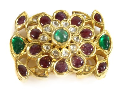 Lot 180 - An Indian high carat gold emerald, diamond and ruby five row necklace centrepiece