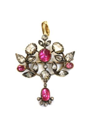 Lot 38 - A Victorian cabochon ruby and diamond spray brooch pendant