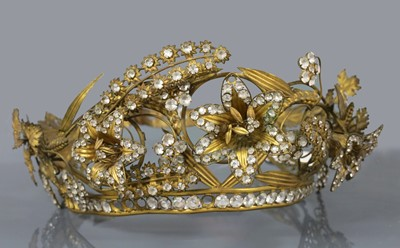 Lot 9 - A Regency gilt metal and paste, en tremblant tiara or headdress, c.1810-1830
