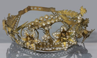 Lot 9-A Regency gilt metal and paste, en tremblant tiara or headdress, c.1810-1830