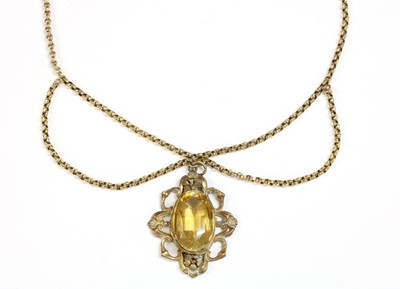 Lot 12-A gilt metal citrine pendant
