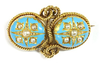 Lot 9-A Victorian gold split pearl, diamond and enamel brooch