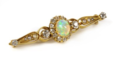 Lot 106 - A Victorian opal, diamond and split pearl gold bar brooch