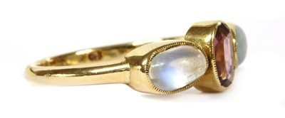 Lot 20 - An Edwardian gold garnet, opal and moonstone ring