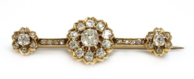 Lot 37 - A late Victorian diamond cluster bar brooch