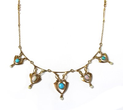 Lot 16-An Art Nouveau, gold, turquoise and opal necklace