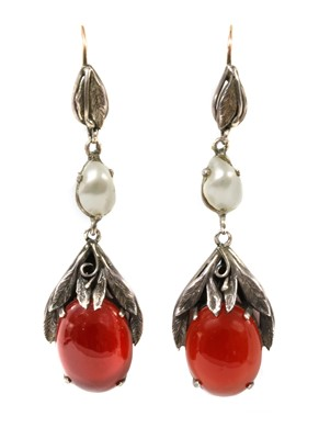 Lot 120 - A pair of Arts and Crafts silver and gold, cornelian and blister pearl drop earrings, c.1920