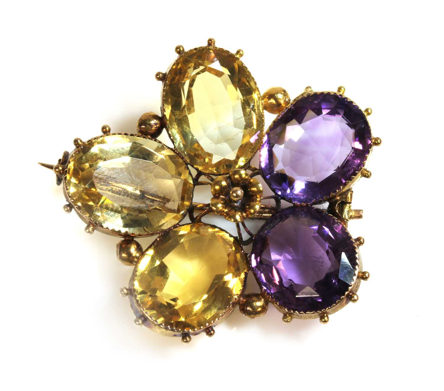 Lot 15-A Victorian gold amethyst and citrine pansy brooch