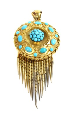 Lot 34 - A Victorian Etruscan Revival gold and turquoise set fringe pendant, c.1860
