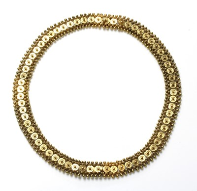Lot 32 - A pair of Victorian gold bracelets/necklace, c.1870