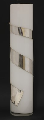 Lot 527 - A glass vase with silver-plated spiral