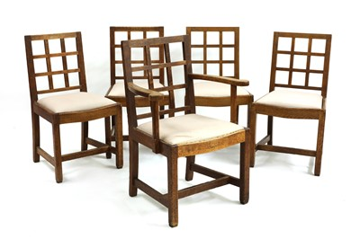 Lot 34 - Five oak dining chairs