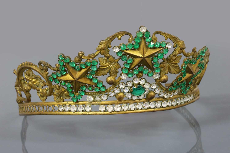 Lot 5-A Regency gilt metal, green and colourless paste tiara, c.1810-1820