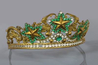 Lot 5 - A Regency gilt metal, green and colourless paste tiara, c.1810-1820