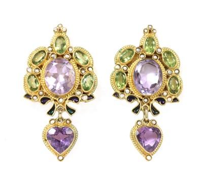 Lot 85 - A pair of Italian  gilt metal amethyst, peridot, split pearl and enamel earrings, by Percossi Papi