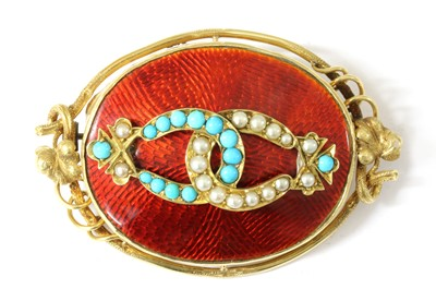 Lot 4-A gold turquoise, split pearl and enamel brooch