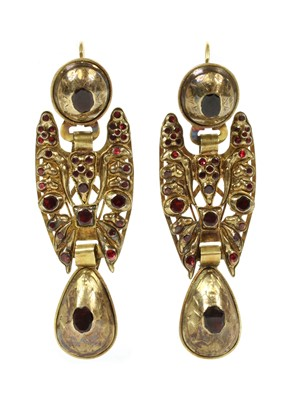 Lot 2 - A pair of antique 19th century Spanish Catalan flat cut garnet drop earrings