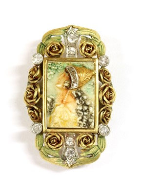 Lot 79 - An Art Nouveau diamond, ivory and enamel brooch/pendant