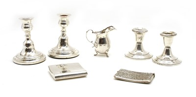 Lot 1-Silver items comprising two pairs of dwarf candlesticks