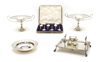 Lot 3-Silver items comprising a pair of small tazzas by Charles Green & Co, Birmingham 1906
