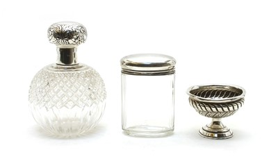 Lot 4-Two silver mounted cut glass dressing table bottles