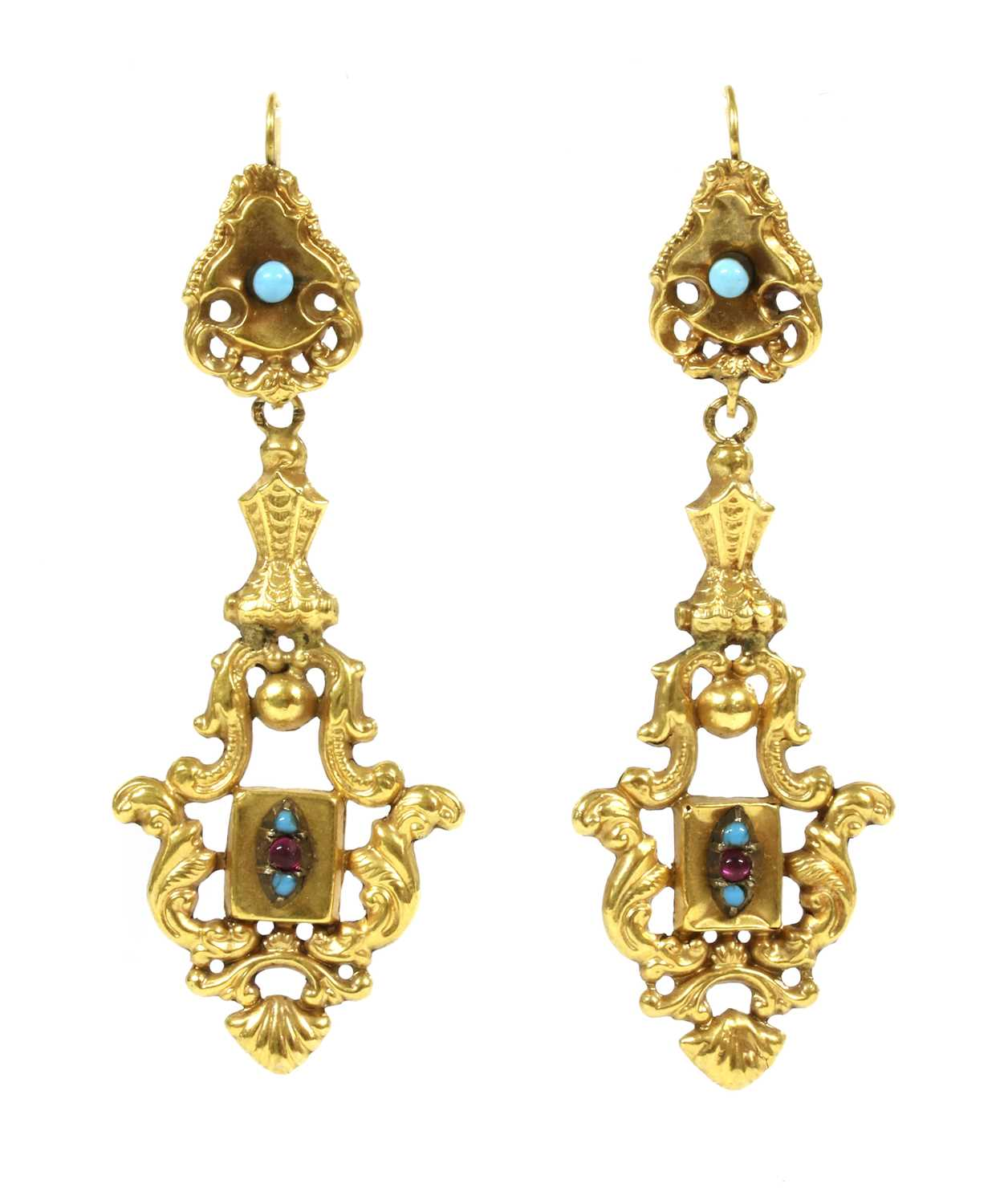 Lot 23 - A pair of early Victorian gold repoussé rococo-style drop earrings