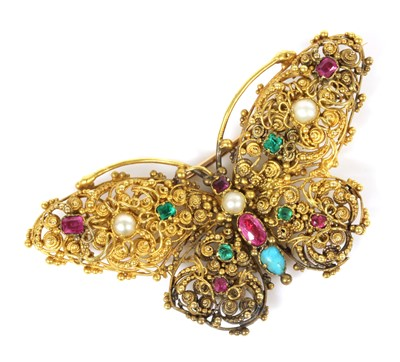 Lot 18 - A Regency gold, gemstone and pearl butterfly brooch, c.1820