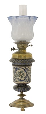 Lot 29 - A Doulton Lambeth Hink's patent oil lamp