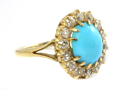 Lot 33 - A Victorian turquoise and diamond oval cluster