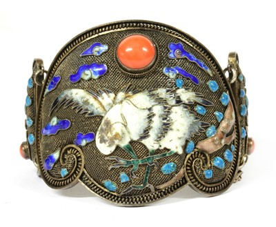 Lot 53 - A Chinese silver gilt coral and enamel hinged bangle, c.1930