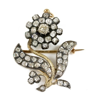 Lot 35 - A late Georgian diamond set flower brooch/pendant
