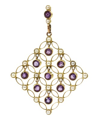 Lot 94 - An Edwardian amethyst and split pearl pendant, c.1910