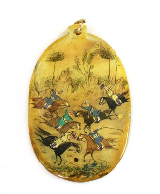 Lot 56 - A Persian hand painted miniature pendant