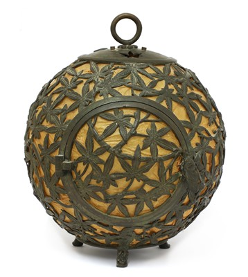 Lot 24-An interesting Arts & Crafts metal chinoiserie lantern