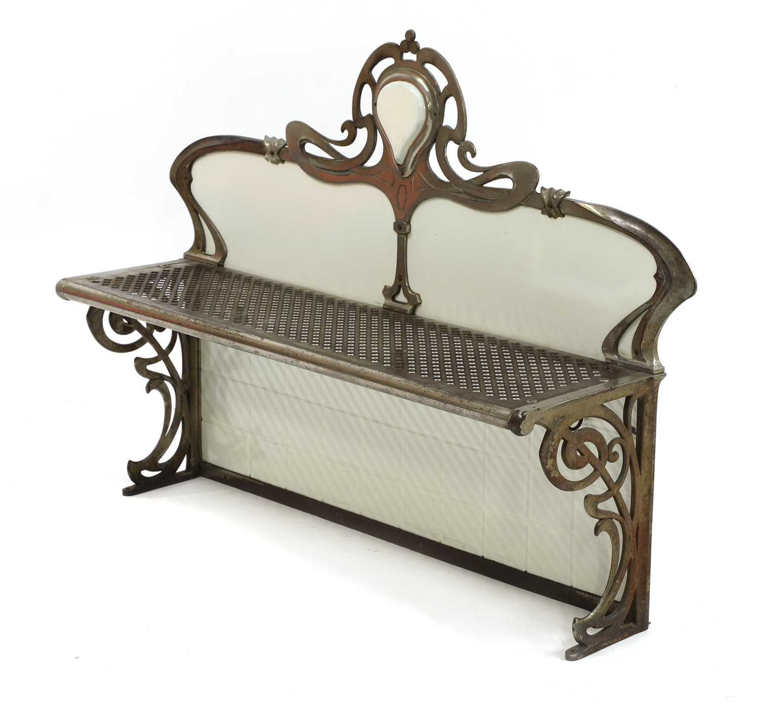 Lot 13-A French Art Nouveau metal and enamelled wall shelf