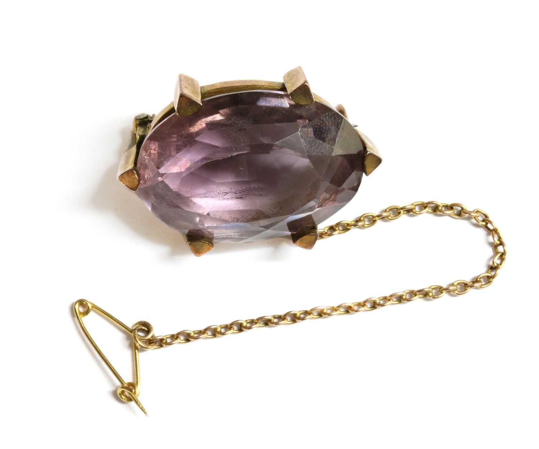 Lot 17-A Victorian gold amethyst brooch