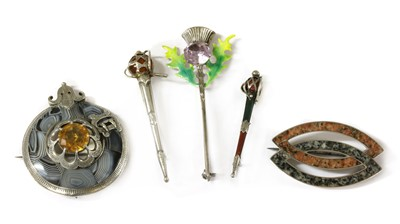 Lot 44 - A quantity of Scottish silver brooches