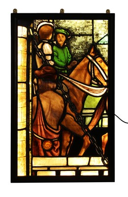 Lot 27 - A large stained glass panel