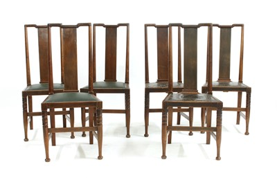 Lot 19-A set of six walnut Arts and Crafts chairs