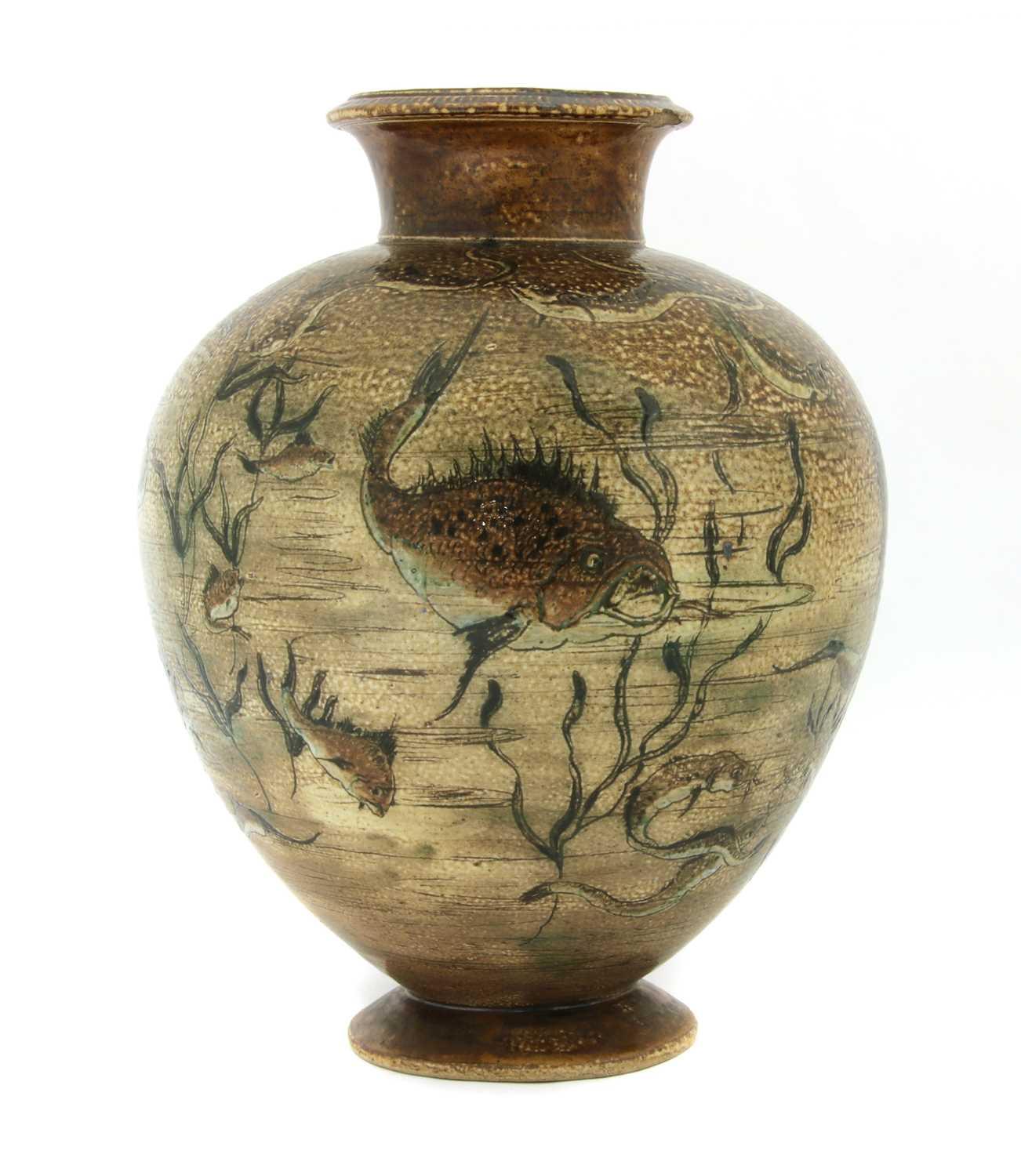 Lot 22 - A Martin Brothers' stoneware aquatic vase