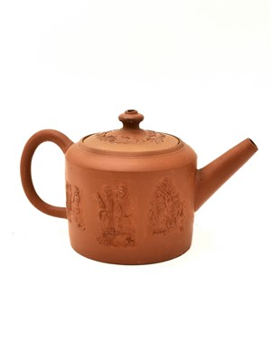 Lot 43 - A Staffordshire redware small cylindrical teapot and cover