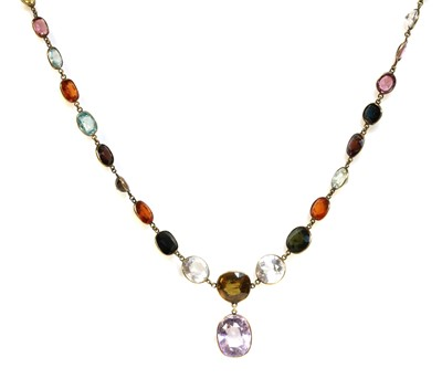 Lot 96 - An Edwardian gemstone necklace