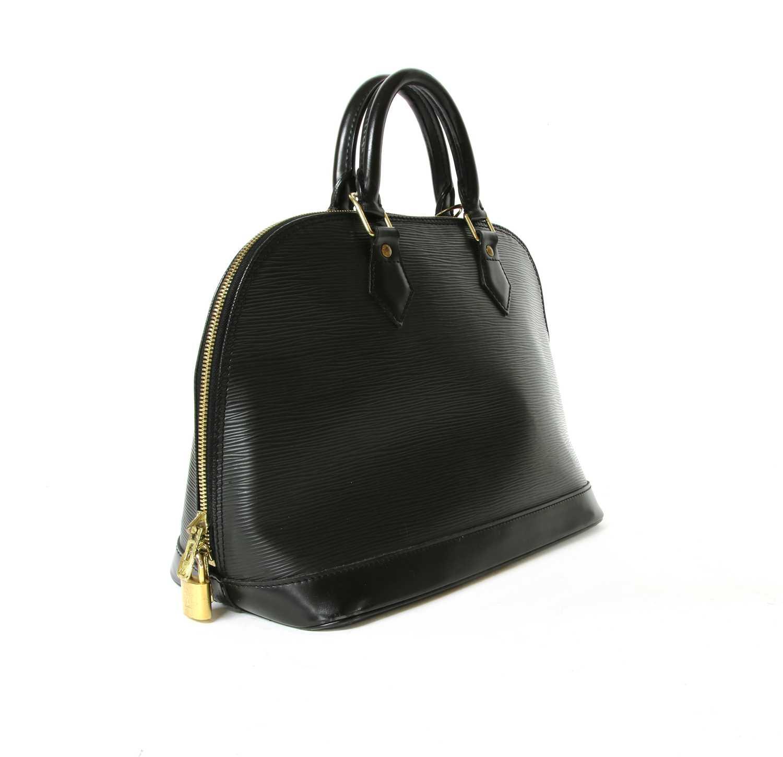 Lot 6 - A Louis Vuitton black Epi leather Alma bag